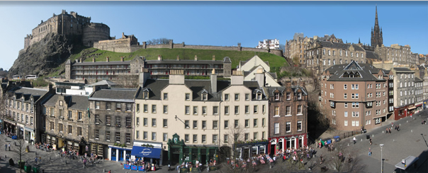 panorama of the northwest side of the grassmarket